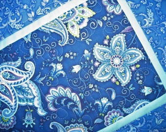 Floral Table Runner, quilted, blue, quilted table runner, handmade,  Wall Hanging fabric from Timeless Treasures by Chong-A Hwang