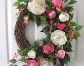 Valentine Wreath, Removable Pink Heart, Front Door Wreath, Pink Roses, Mothers Day Wreath, Wedding Wreath, Easter Wreath, Grapevine Wreath