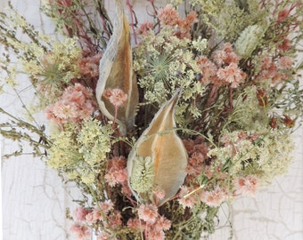 Dried Flower Bouquet Floral Arrangement Queen Anne's Lace Wild Flowers Dyed Meadow Grass Natural Large White Pods Free Lavender Sachet