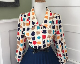 Vintage 1950s 1960s Atomic Novelty Red Blue & Beige 3/4 Length Sleeve Button Down Blouse Top