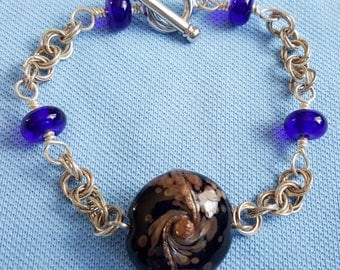 Handmade Chainmaille And Lampwork Glass Bead Bracelet