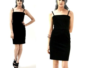 90s Vintage Black Velvet Dress Size Small By Moschino Cheap and Chic// Vintage Black 90s Prom Dress Body Con Minimalist
