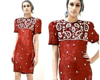 80s Vintage Red Sequin Dress Paisley Bandana Size Medium Large// Vintage Red Sequin Beaded Dress rodeo Cowboy CowGirl By Modi J55
