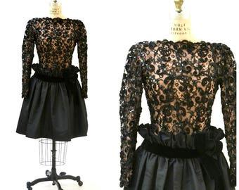 Vintage Black Lace Dress By Bob Mackie Small Medium// 80s 90s Black Sequin Party Dress Lace Long Sleeve Crinoline Dress