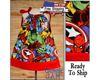 6-9-12-18-24 months / 2T-3T-4T / - Marvel Pillowcase Dress -Ready To Ship / Hulk, Captain America, Wolverine, Spider-man, Iron Man
