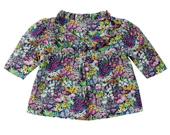 Girl's Floral Ruffle Blouse// Painter's Meadow Liberty of London Popover// Baby Girl Blouse// Girl's Heirloom Clothing// Girl's Summer Top