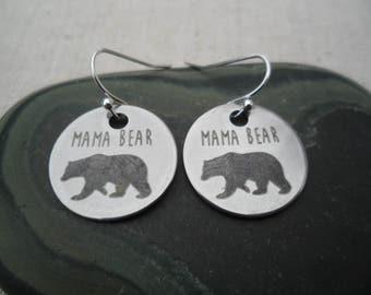 Mama Bear Earrings - Silver Bear Earrings - Simple Everyday Silver Earrings