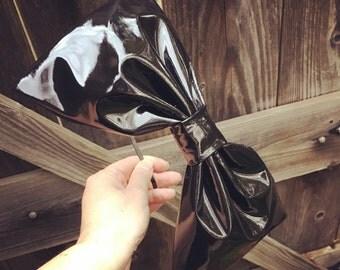 Black Faux Patent Leather PVC Big Bow Headband