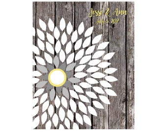Bridal Shower Guest Book, Sunflower Wedding Guestbook, Guestbook Alternative, Rustic Wedding Guest Book, Floral Guestbook,16x20 85 Signature