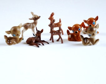 Vintage Mini Putz House Reindeer Deer Figurines, Miniature Plastic Deer Fawn, Holiday Village Craft Supplies, Fairy Garden Reindeer
