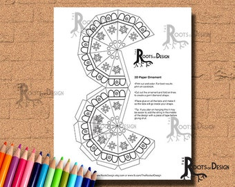 INSTANT DOWNLOAD Coloring Page - Ornament 2, Color your own ornament- doodle art, printable
