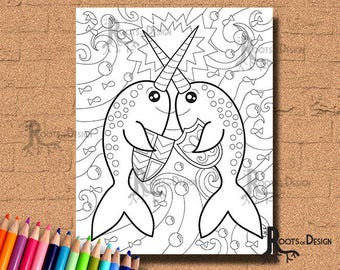 INSTANT DOWNLOAD Coloring Page - Narwhals Fighting Print, doodle art, printable
