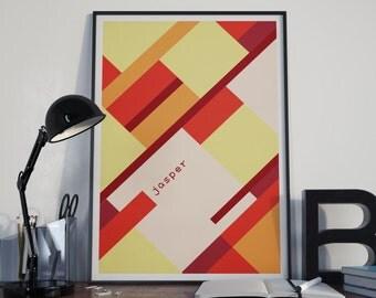 Abstract Geometry // Jasper, a Crystal Gem Modern Art Print // Pink and Taupe Minimalist Portrait Steven Universe