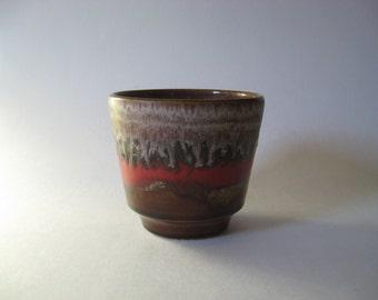 Small red vintage ceramic planter pot white brown drip glaze 70s Germany 700/11