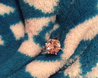 sparkly pink cubic Zirconia ring sterling silver Big stone size 8