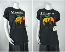 90s 80s Atlanta Georgia peach puffy graphic tee t shirt