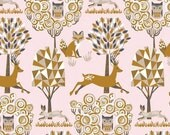 ON SALE - Enchanted Forest in Pink - NATURAL Wonder  by Josephine Kimberling for Blend Fabrics - By the Yard