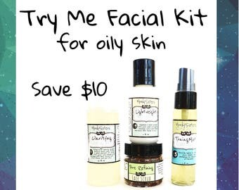 Natural Skincare Set for Oily or Combination Skin - Cleanser, Scrub, Toner and Moisturizer in Gift Bag