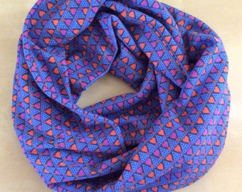 Jersey knit infinity scarf - Anna Marie Horner - Blue with orange and magenta hearts - AMH