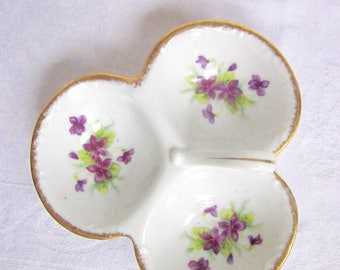 Violet Divided Dish Purple Violets Serving Dish Trinket Dish Bond Ware Hand Painted Gold Details Cottage Chic 1950s
