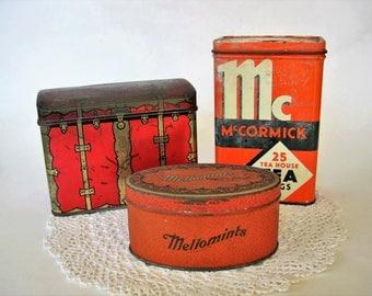 3 Vintage Tins ~ McCormick Tea Bags ~ Mellomints ~ Swee-Touch-Nee Tea ~ Kitchen Decor Retro Kitchen