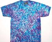 XL Shibori Men's T Shirt Tie Dye Blue Burgundy Deluxe Extra Large