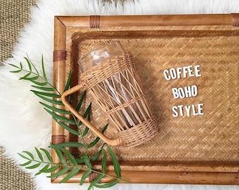 vintage wicker rattan glass mug set / coffee mug / cup holders / inserts