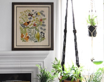 large vintage crewel framed woodland birds tree picture // cross stitch // wall hanging