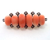 Antique 14K Rose Gold Untreated Coral Seed Pearl Brooch