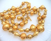 Anne Klein Gold Bead Long Necklace Signed