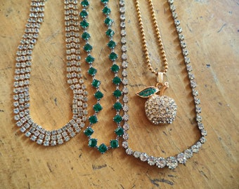Collection 4 Necklaces Rhinestones Clear Green Crystal Rhinestone Apple Pendant LOT Destash Wear or Resell