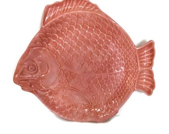 Pink Fish Relish Plate By Holland Mold, Kitschy Fish Plate, Cottage Beach Seaside Decor, Pink Relish Serving Plate, Fish Plate