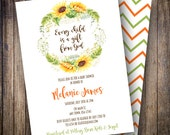 Watercolor Sunflowers Baby Shower Invitation, Printable Baby Shower Invitation Design, Sunflower Wreath in Green, Yellow, Brown