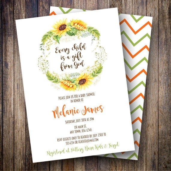 watercolor sunflowers baby shower invitation printable baby, Baby shower invitations