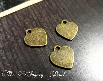 Metal Stamping Blanks Bronze Heart Blanks Hand Stamping Blanks Bronze Blanks Engraving Blanks Blanks Heart Charms Blank Charms 10 pieces