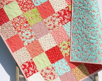 Baby Girl Quilt, Child Youth Crib Bedding, Moda Traditional, Little Ruby Red Aqua Pink Green Flowers Patchwork Quilt Nursery Decor Handmade
