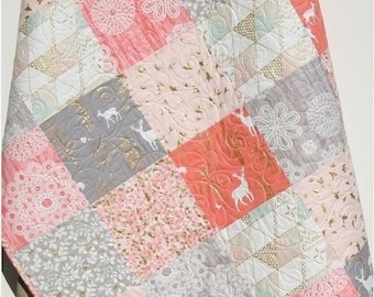 Rustic Baby Quilt, Girl Crib Bedding, Deer Blanket, Gold Shimmer, Coral Pink Grey Gray, Nursery Decor, Brambleberry, Woodland