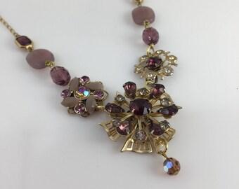 Feminine Lavender Necklace, Rhinestone Necklace, Purpke Flowers, Spring, Statement, Assemblage, Reclaimed Vintage Jewelry, OOAK