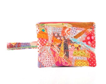 Back to School , Crazy Patchwork , Hippie pouch , Zipper pouch , Coin purse , Pencil Holder , Back To School , multicolored quilt , eco gift