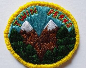 """Twin Peaks handmade embroidered 2"""" patch inspired by the classic David Lynch TV show"""