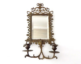 Ornate French Antique Mirror / Sconce in Bronze with Beveled Glass and 2 Candleholders