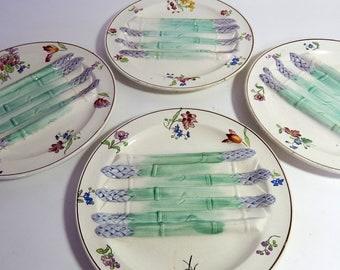 4 French Vintage Majolica Asparagus Plates Longchamp