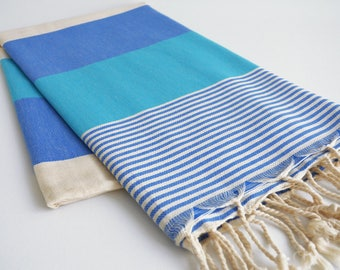 NEW / SALE 50 OFF/ BathStyle / Navy-Blue / Turkish Beach Bath Towel / Wedding Gift, Spa, Swim, Pool Towels and Pareo