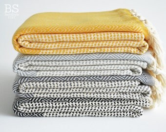 NEW / SALE 50 OFF/ BathStyle / Diamond Style Turkish Beach Bath Towel Peshtemal / Yellow-Gray-Black