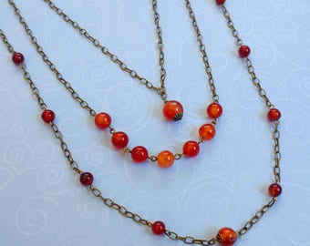 Long, Three Strand Red Agate Gemstone Orange Necklace With Gold Plated Brass Chain and Accents