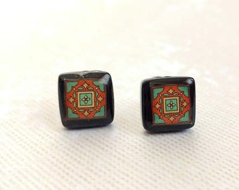 Black Onyx and Sterling Silver Post Earrings, Green & Brick Red Spanish, Mexican, Catalina and Mediterranean Tile Inspired
