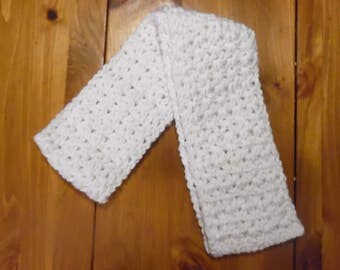 crochet scarf, crocheted scarf ladies scarf, women scarf, winter scarf, white scarf, clothing