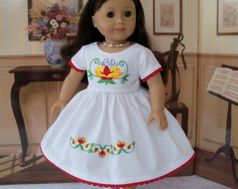 """SALE!  Embroidered Spring Dress/ Doll Clothes for American Girl®  Maryellen, Kit, Melody or Other 18"""" Doll"""