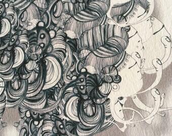 Spore Digital print  black and white
