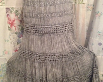 LARGE, Skirt, Bohemian Hippie Indie Boho Tiered Gray Cotton Skirt